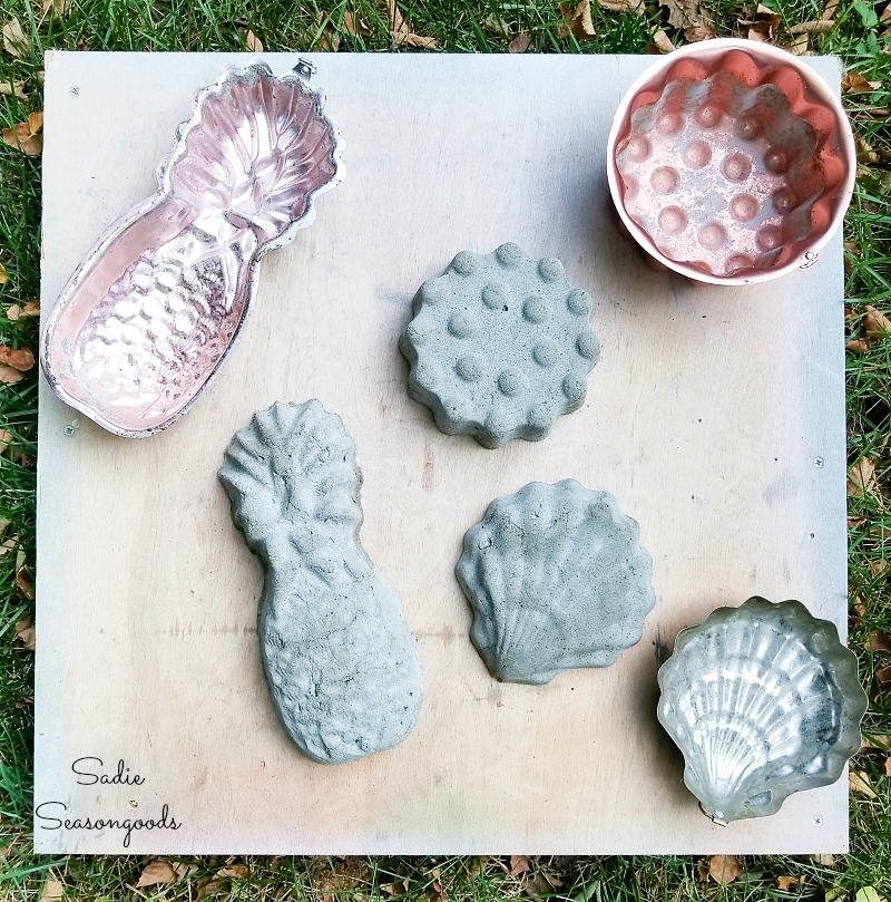 Concrete lawn ornaments by upcycling the copper molds as stone molds