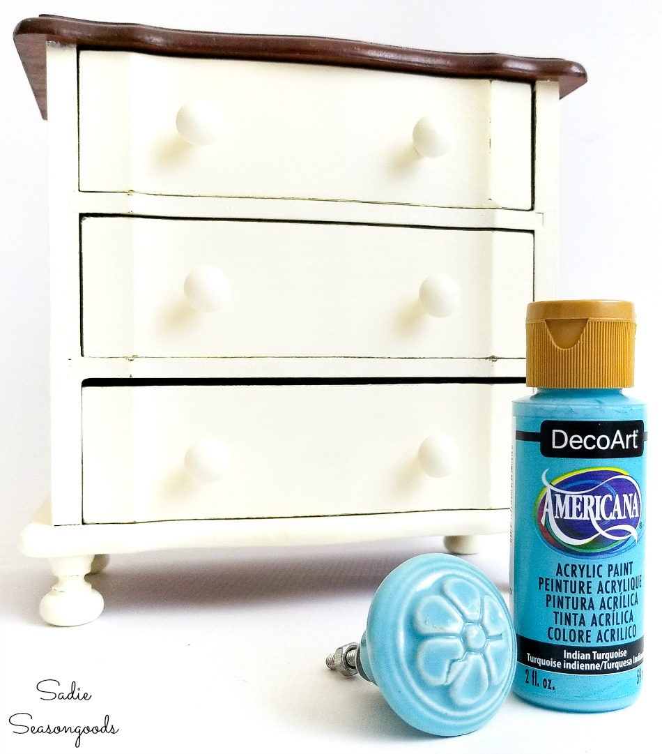 Painting the knobs on mini drawers