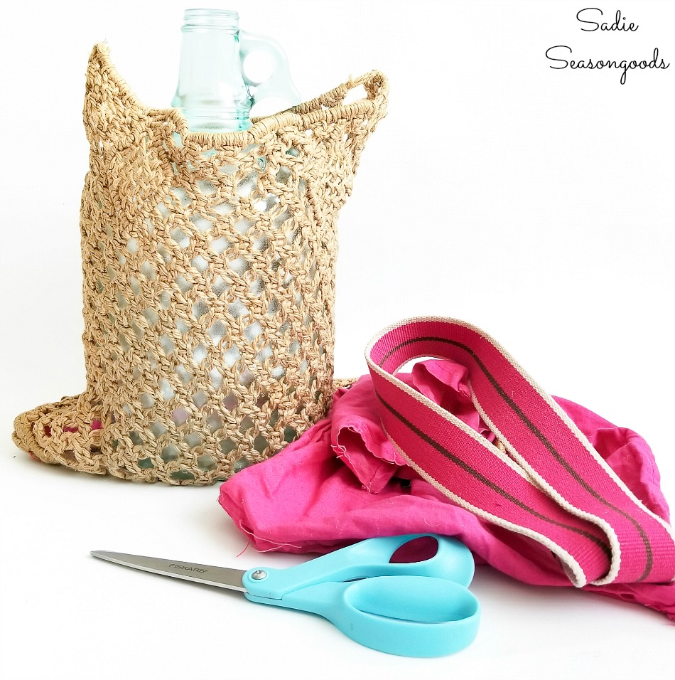 Upcycling a macrame purse to use as fishing net for beach cottage decor