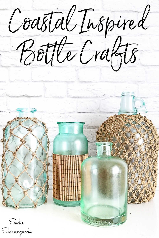 coastal collection of decorative bottles