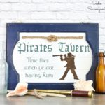 Pirate Decor and Pub Sign on a Cabinet Door