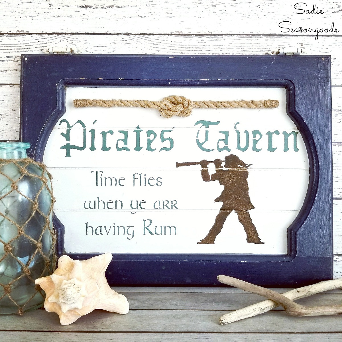 Pub Sign / Pirate Decor from a Cabinet Door