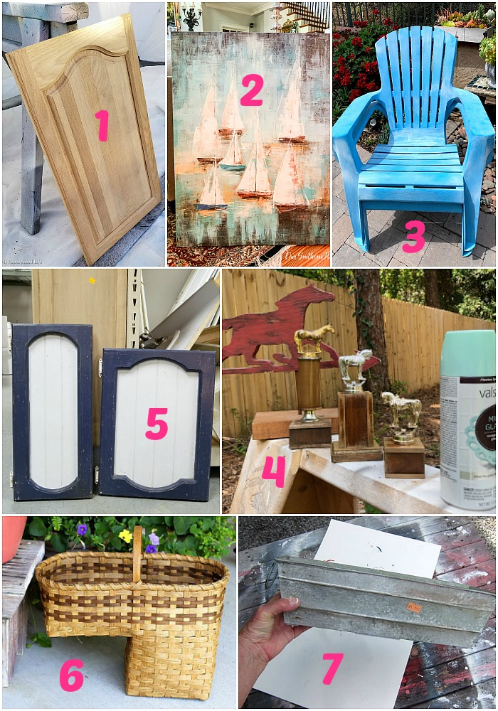 Upcycling ideas from the Thrift Store Decor Team for makeovers and repurposed projects - July 2019