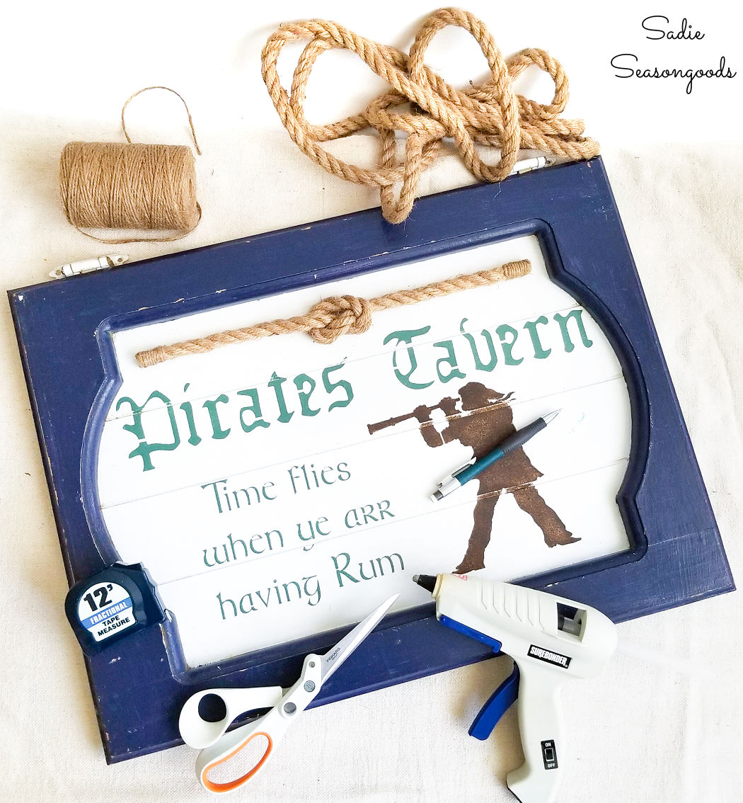 nautical rope on a pirate sign