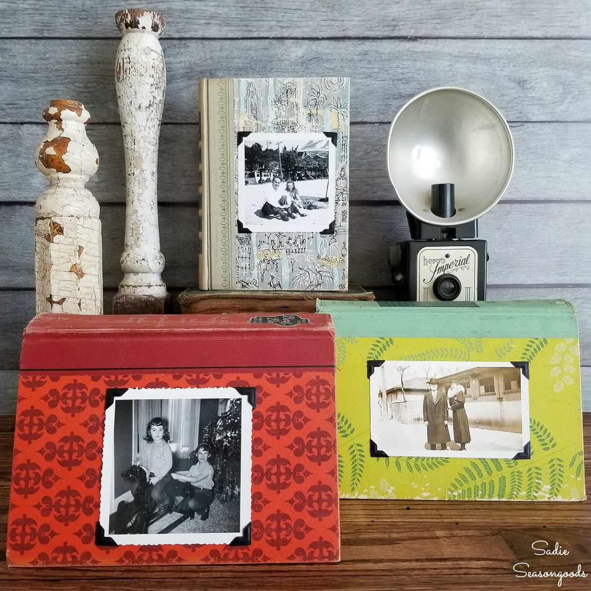 Book Decor with Vintage Photos and Reader's Digest Books (and Big Announcement!)