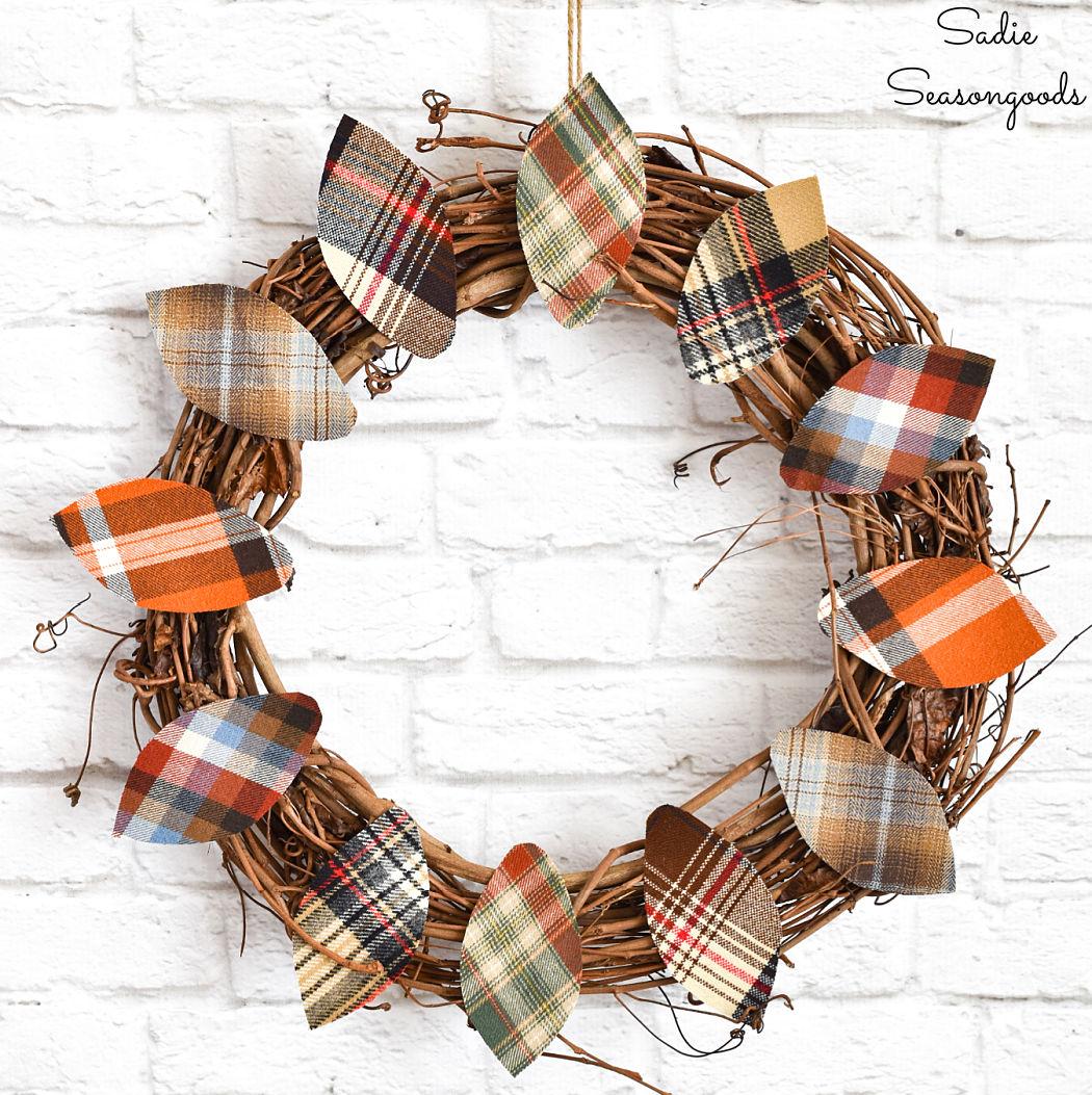 fall leaf wreath from flannel shirts