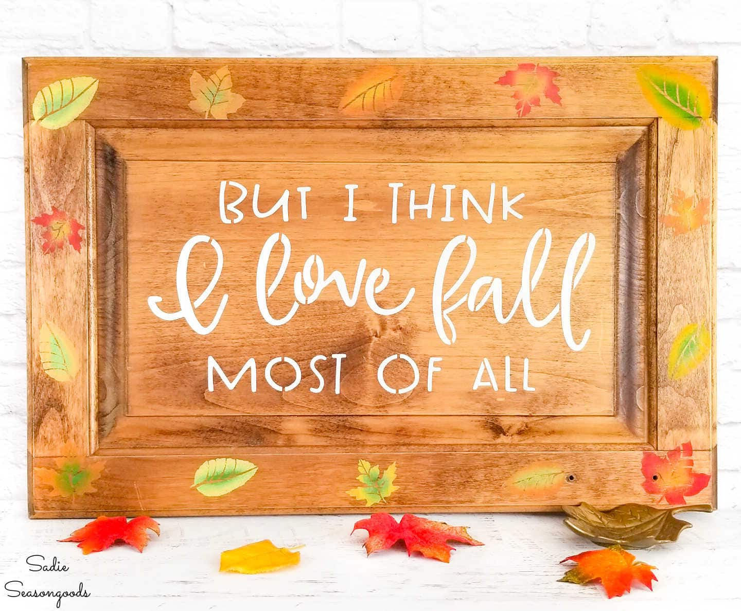 autumn sign with fall leaves decor