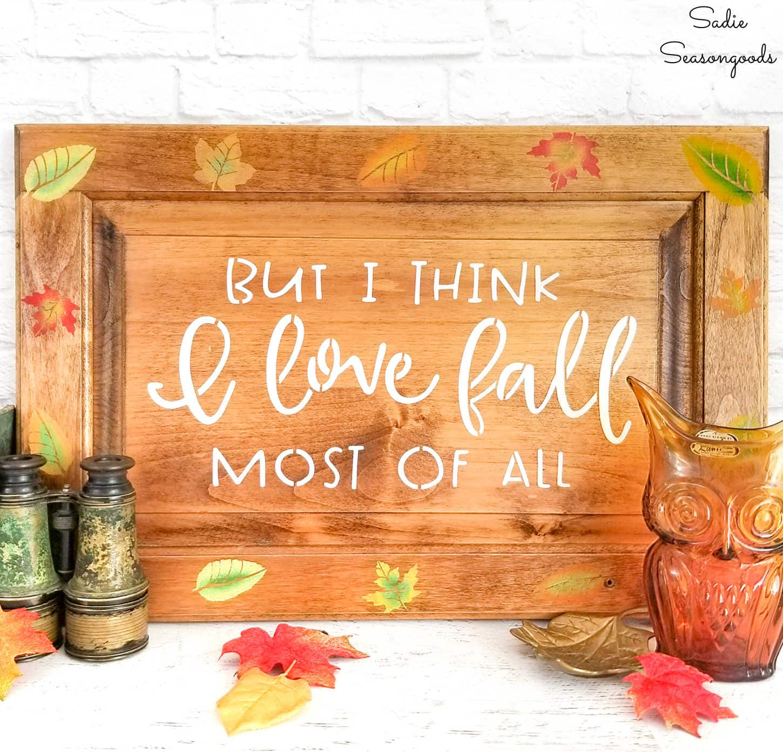 Fall Leaves Decor on an Autumn Sign
