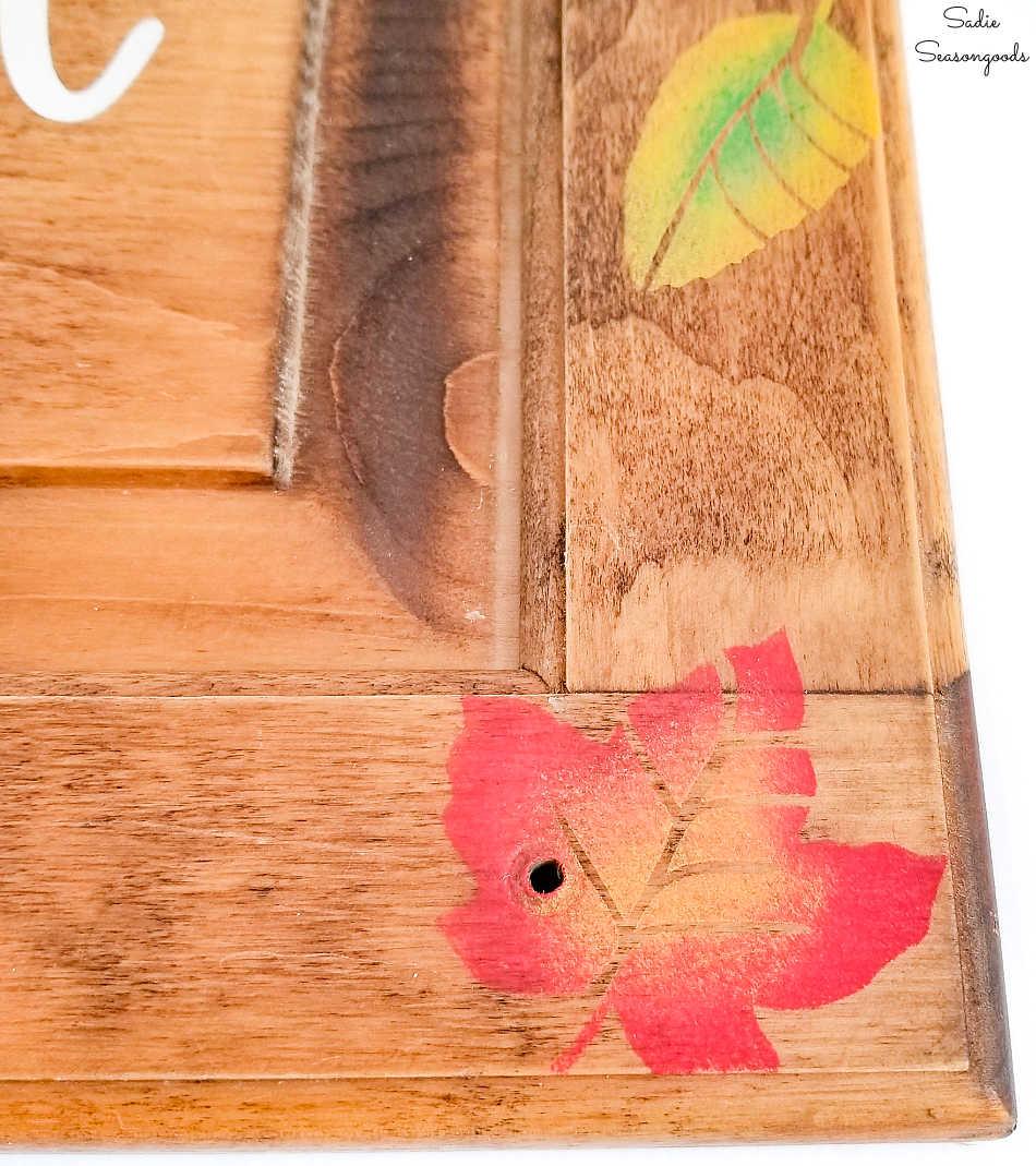 fall leaves decor on fall wood signs