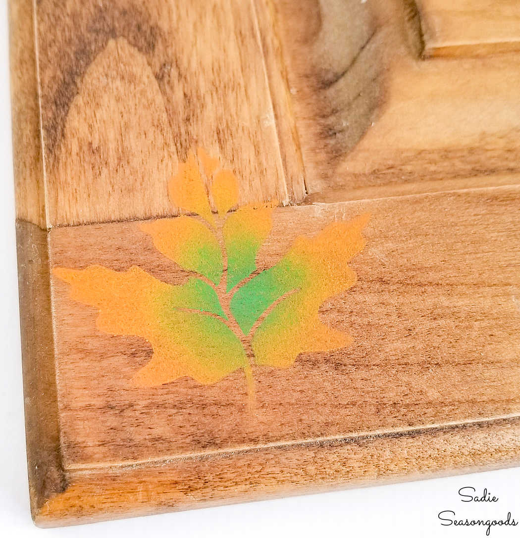 fall leaves decor with a stencil