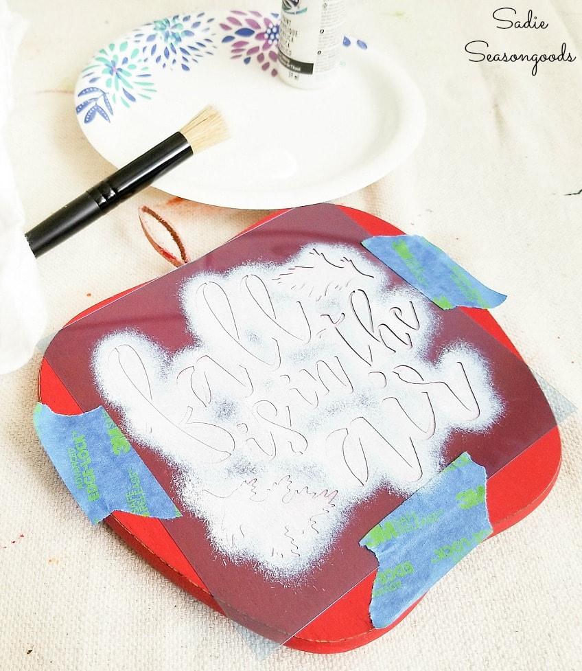fall stencil for apple decor