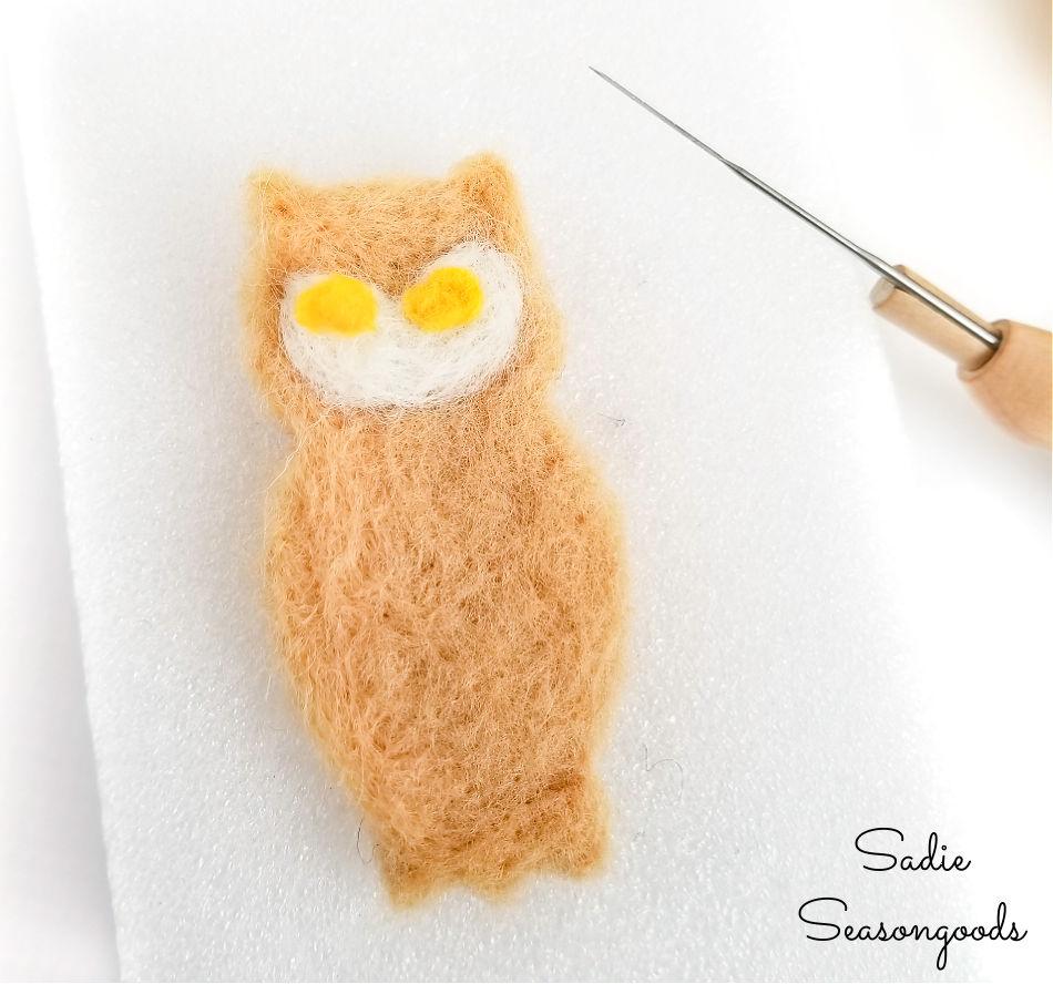 needle felting an owl