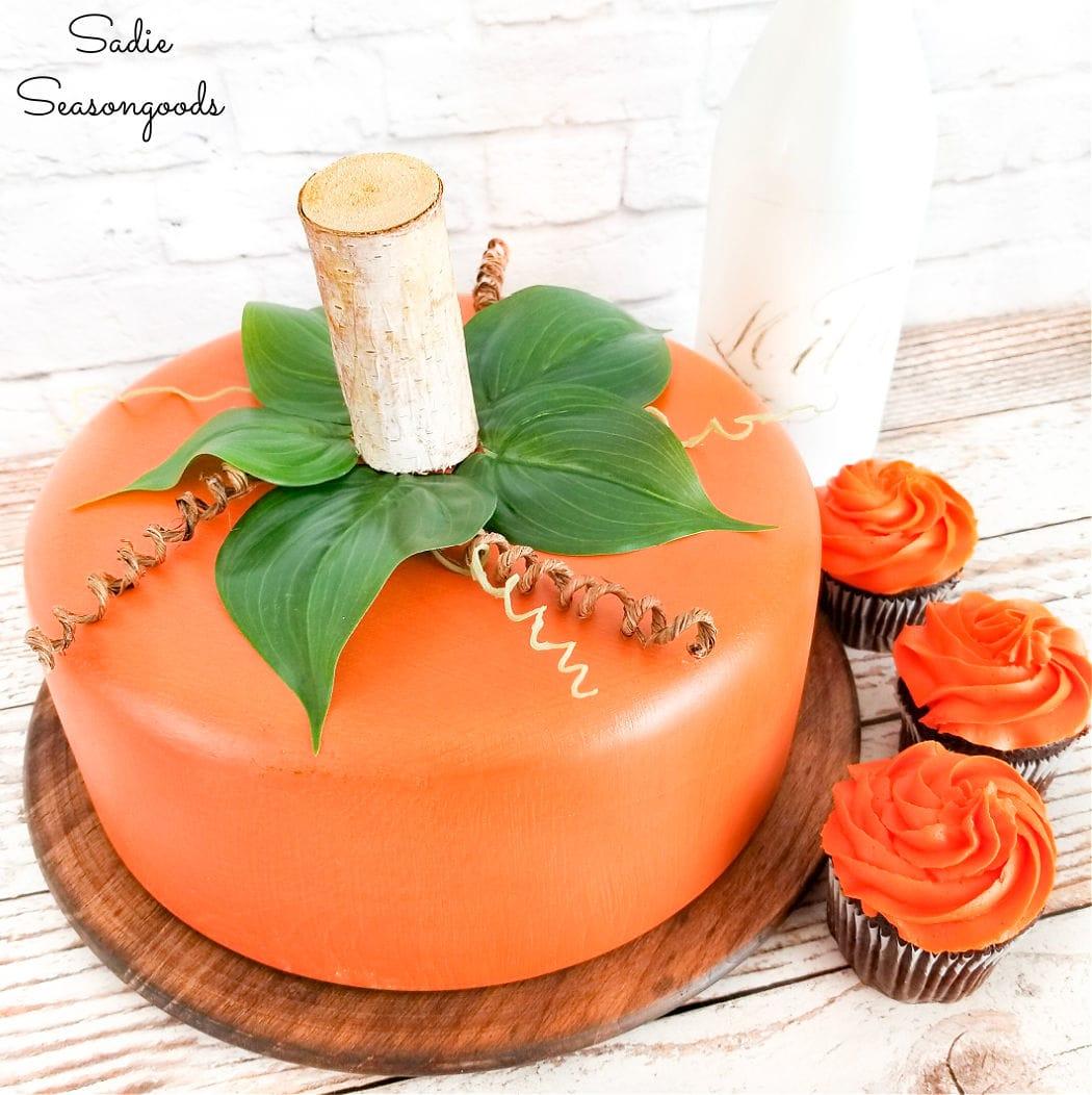pumpkin centerpiece and cake dome