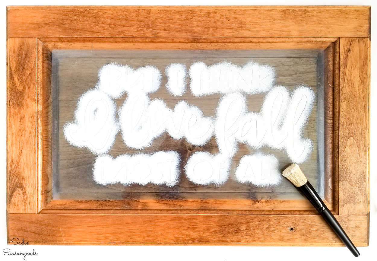 stenciling a fall wood sign