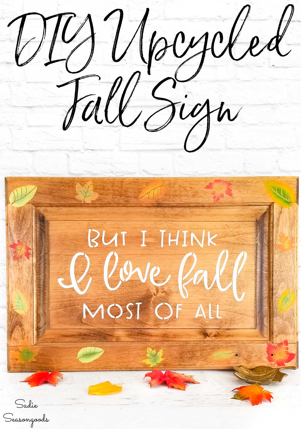 welcome autumn sign with fall leaves