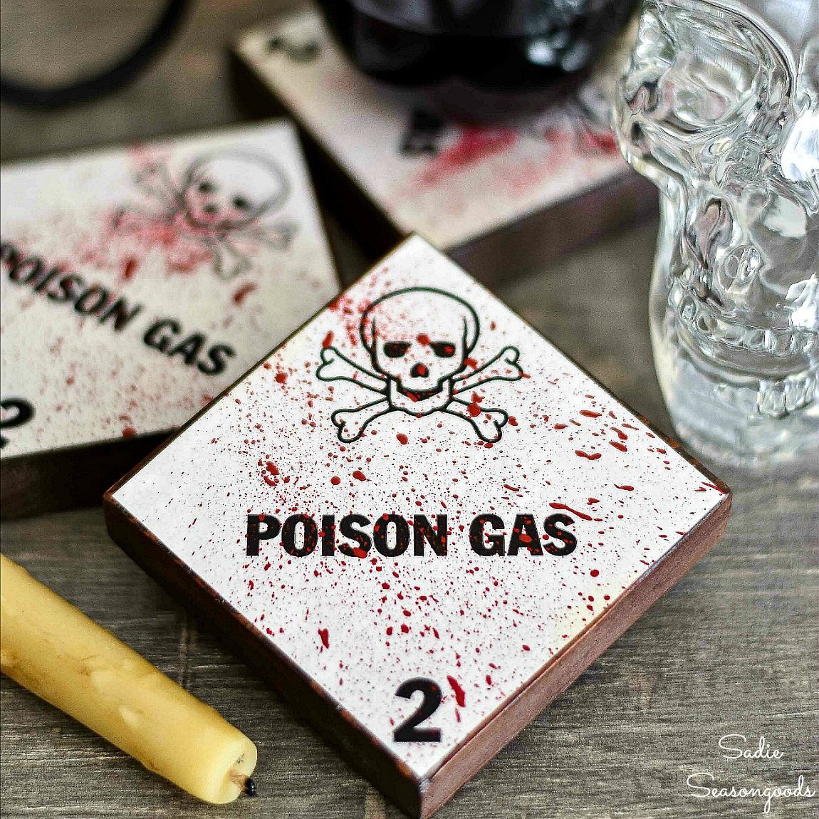 Creepy Coasters for Halloween with Hazard Labels