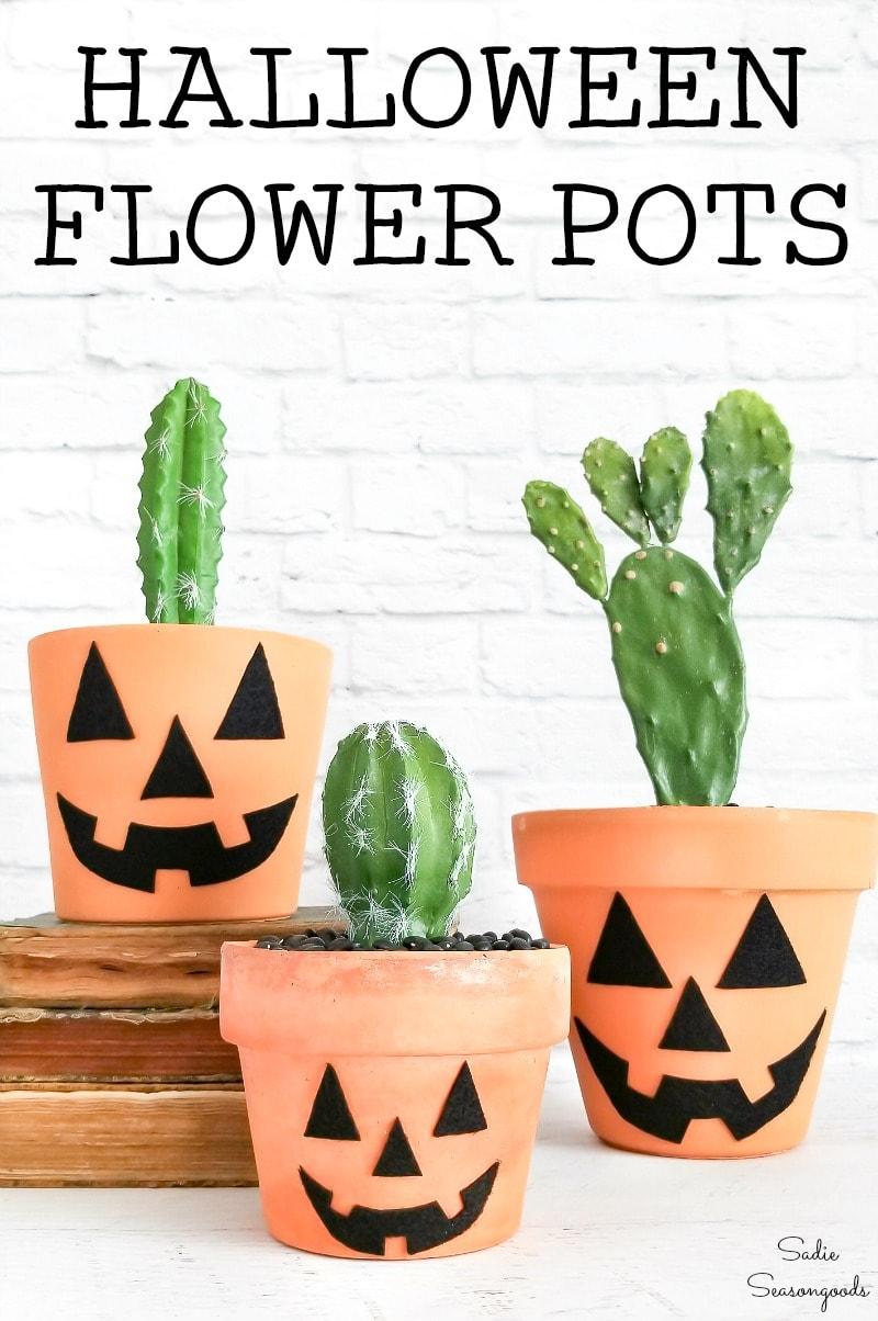 Halloween flower pots for boho halloween decor