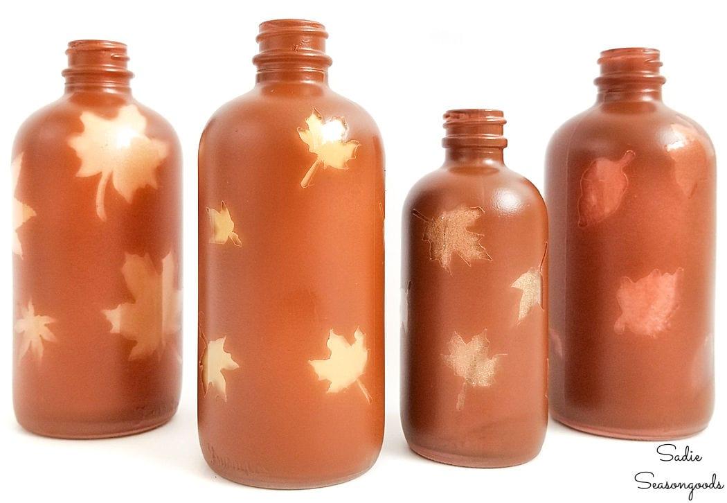 amber glass bottles for fall home decor