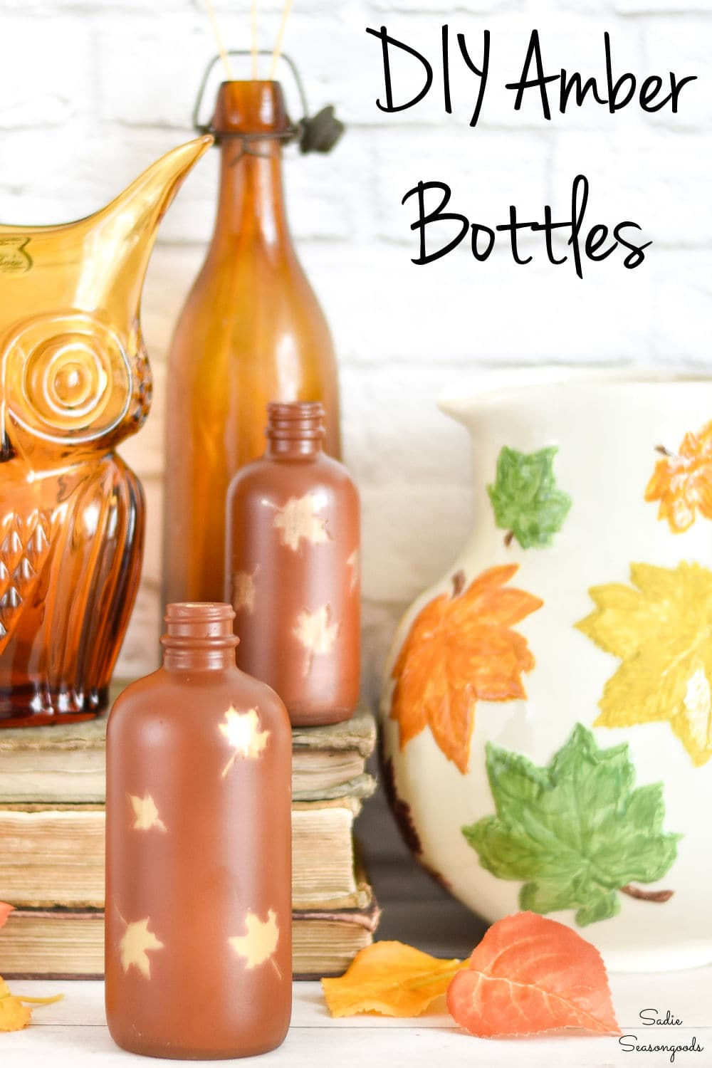 amber glass decor with spray paint