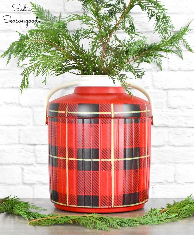Buffalo check Christmas decor with an upcycled cooler