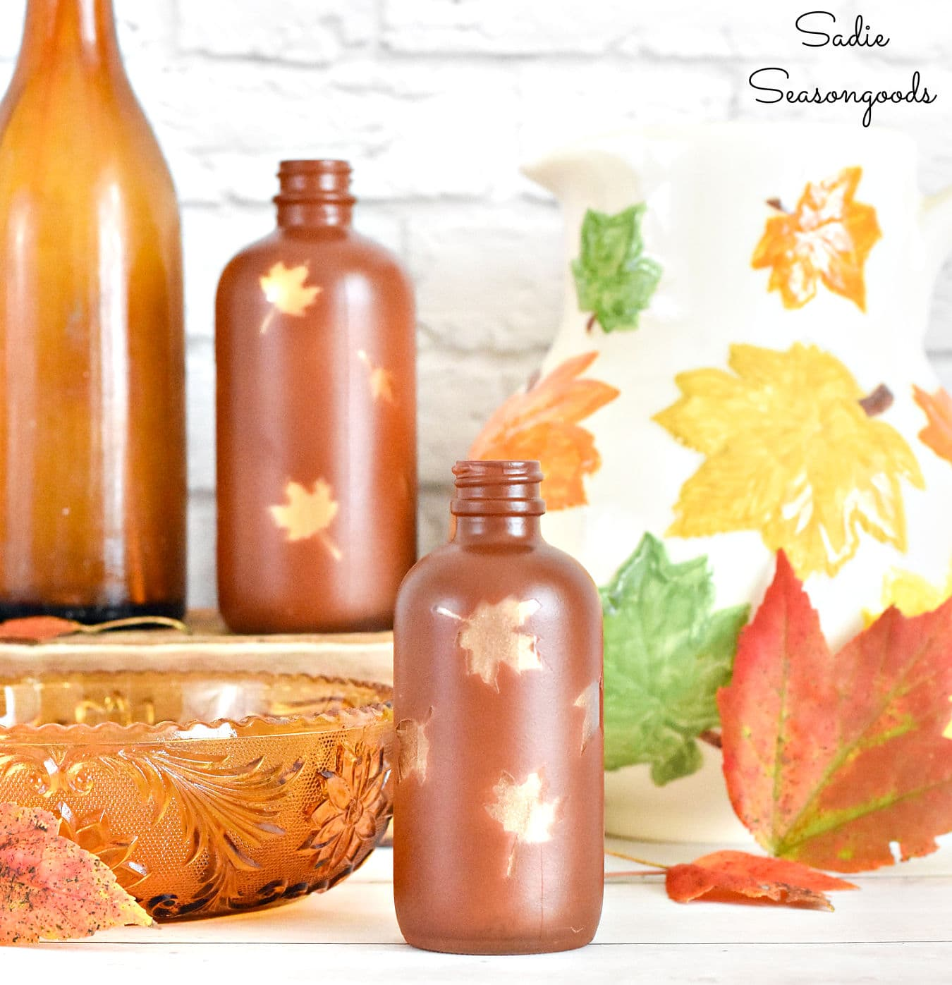 Decorating for Fall with Amber Glass Bottles