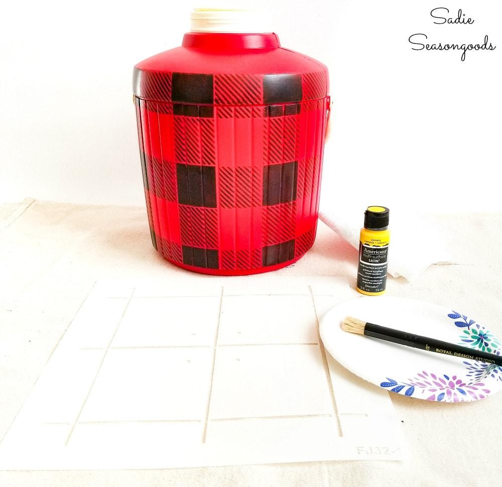 Plaid stencils to create a Skotch Kooler