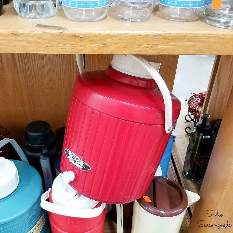 Red cooler for upcycling into plaid Christmas decor