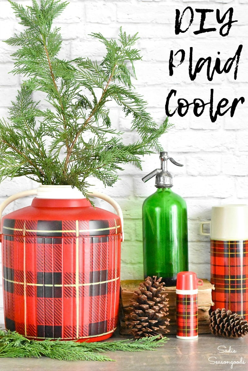 Repurposing a red cooler into plaid Christmas decor with stencils