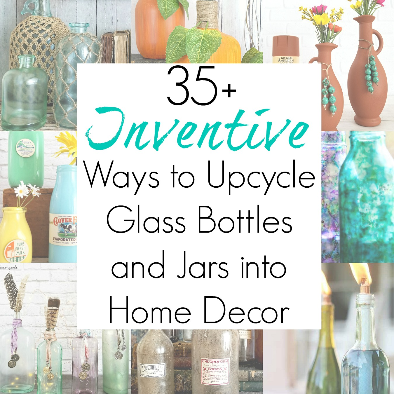 Glass Bottle Crafts and Upcycling Ideas for Empty Wine Bottles into Decorative Glass Jars