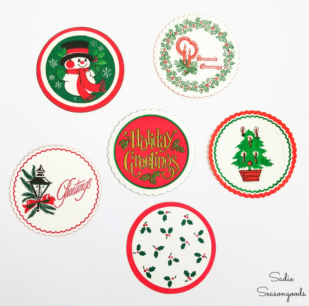 Paper coasters or Christmas coasters to pair up with wood cutouts for wood ornaments