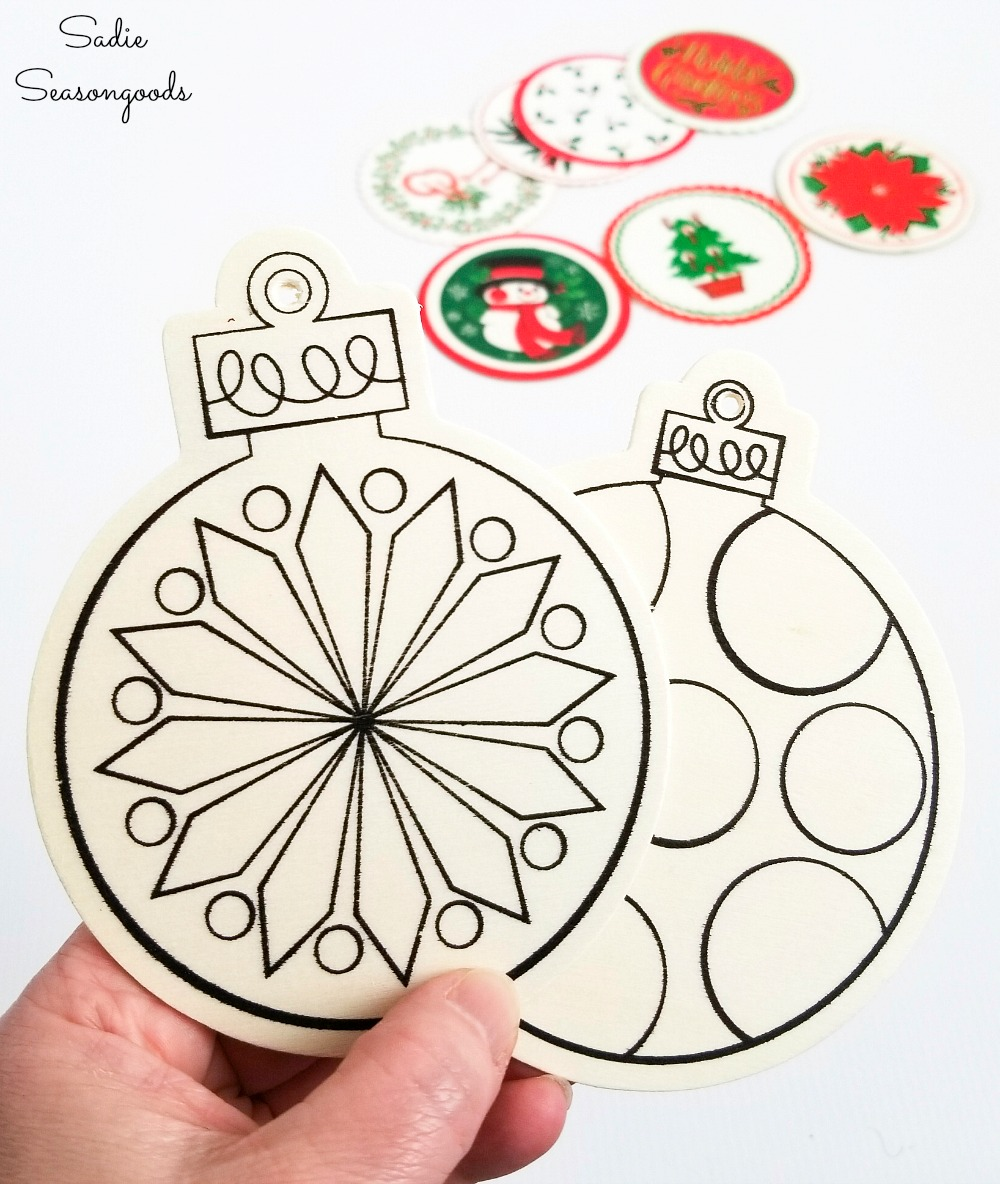 Wood Cutouts from the craft store to make the wooden ornaments with Christmas coasters