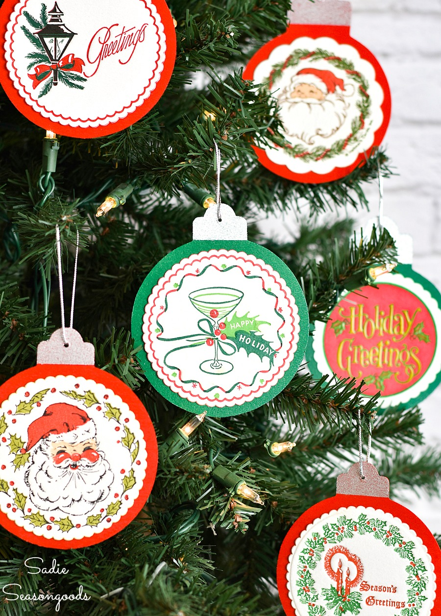 Wooden ornaments with paper coasters on wood cutouts with decoupage glue
