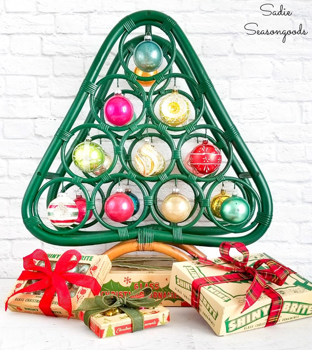 Boho Christmas tree and decor from a bamboo wine rack
