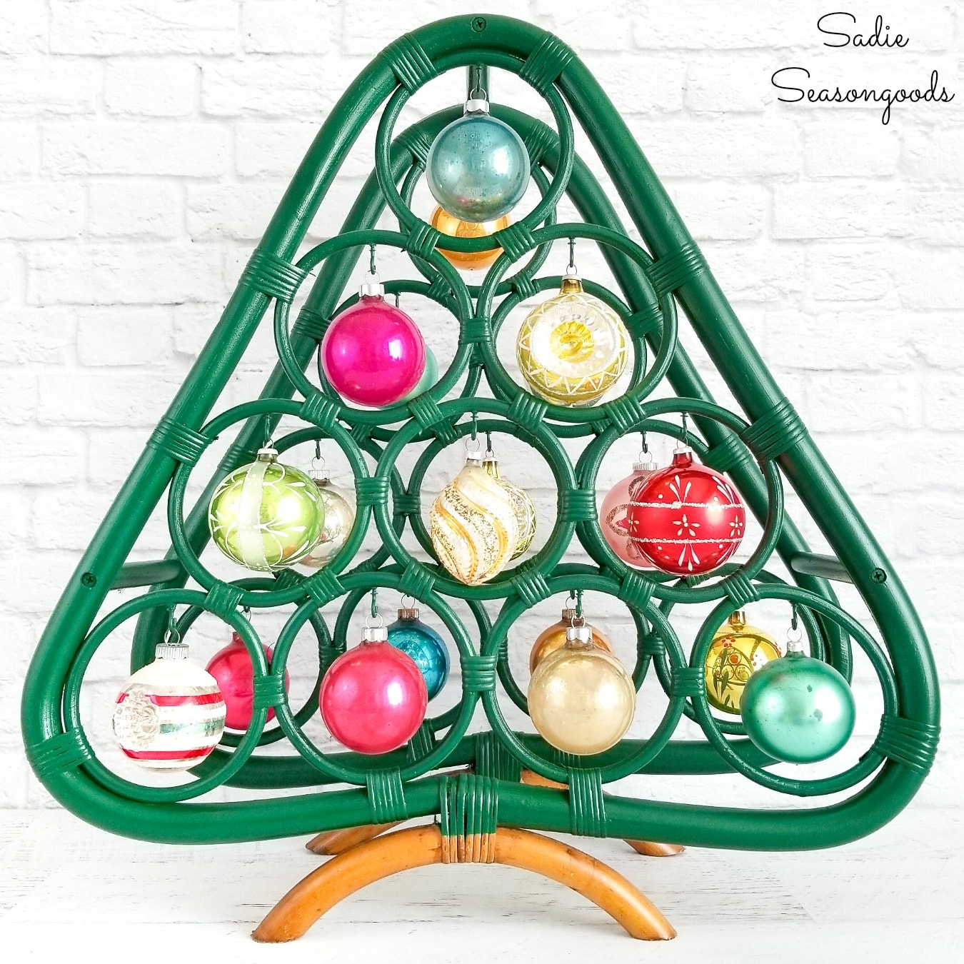 Boho Christmas Tree from a Bamboo Wine Rack