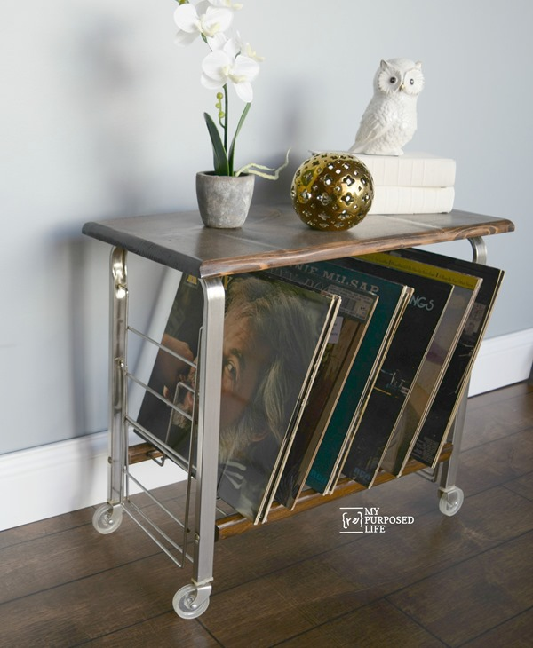 Record table cart from thrift store that has been cleaned and transformed