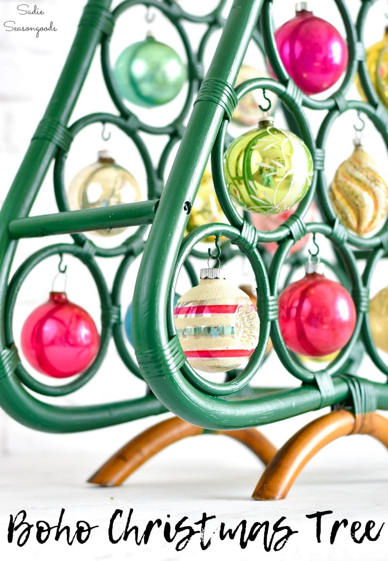 Upcycling a wine rack as Boho Christmas decor