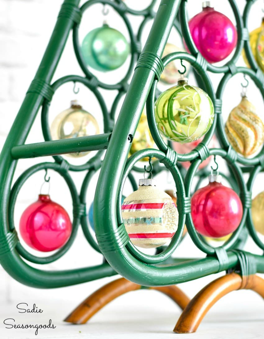 Vintage shiny brite ornaments on a boho Christmas tree