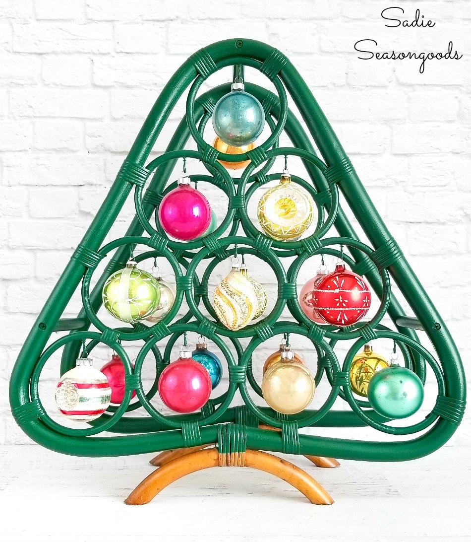 Vintage shiny brite ornaments on an upcycled Christmas tree