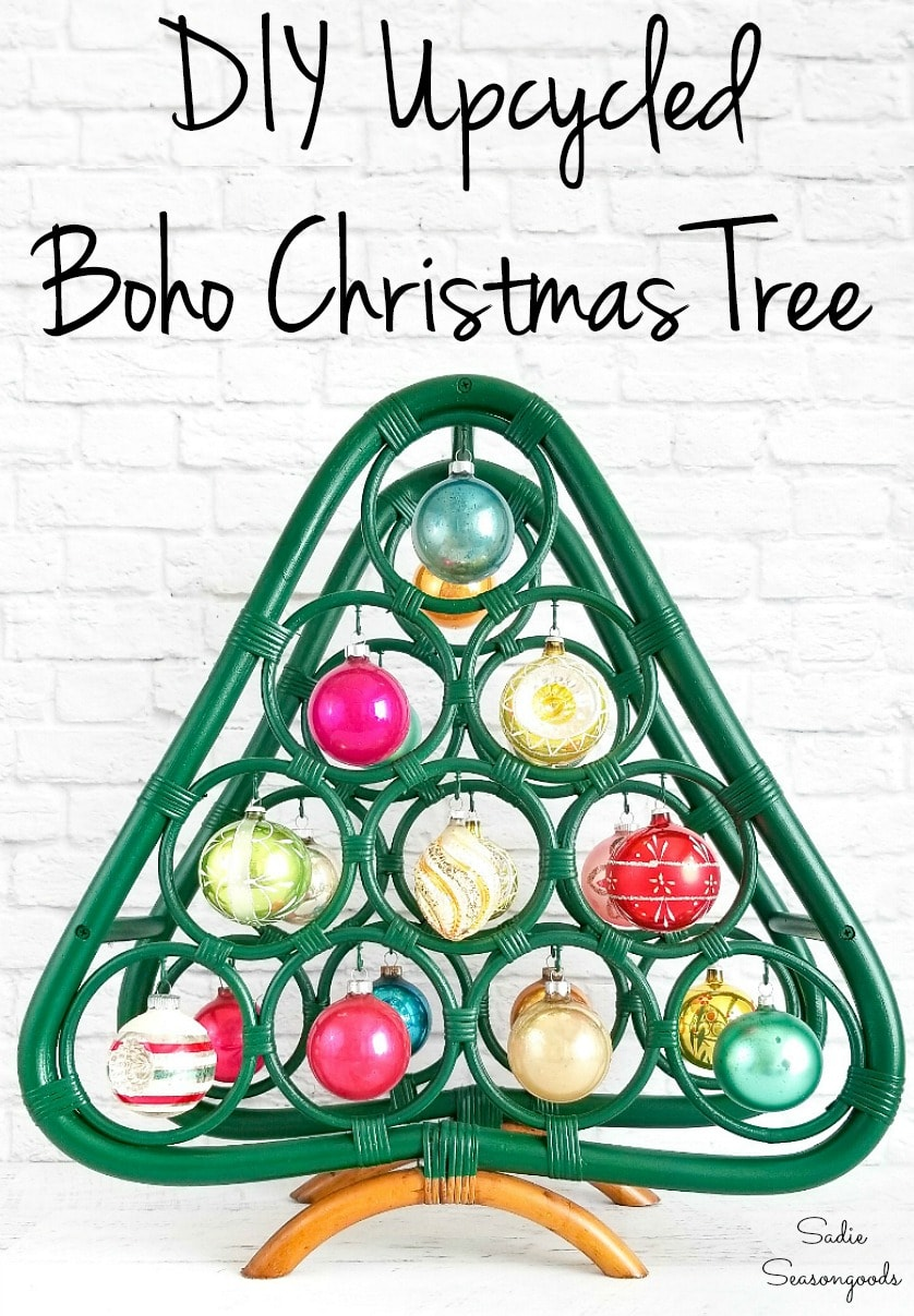 Wine rack Christmas tree for boho holiday decor