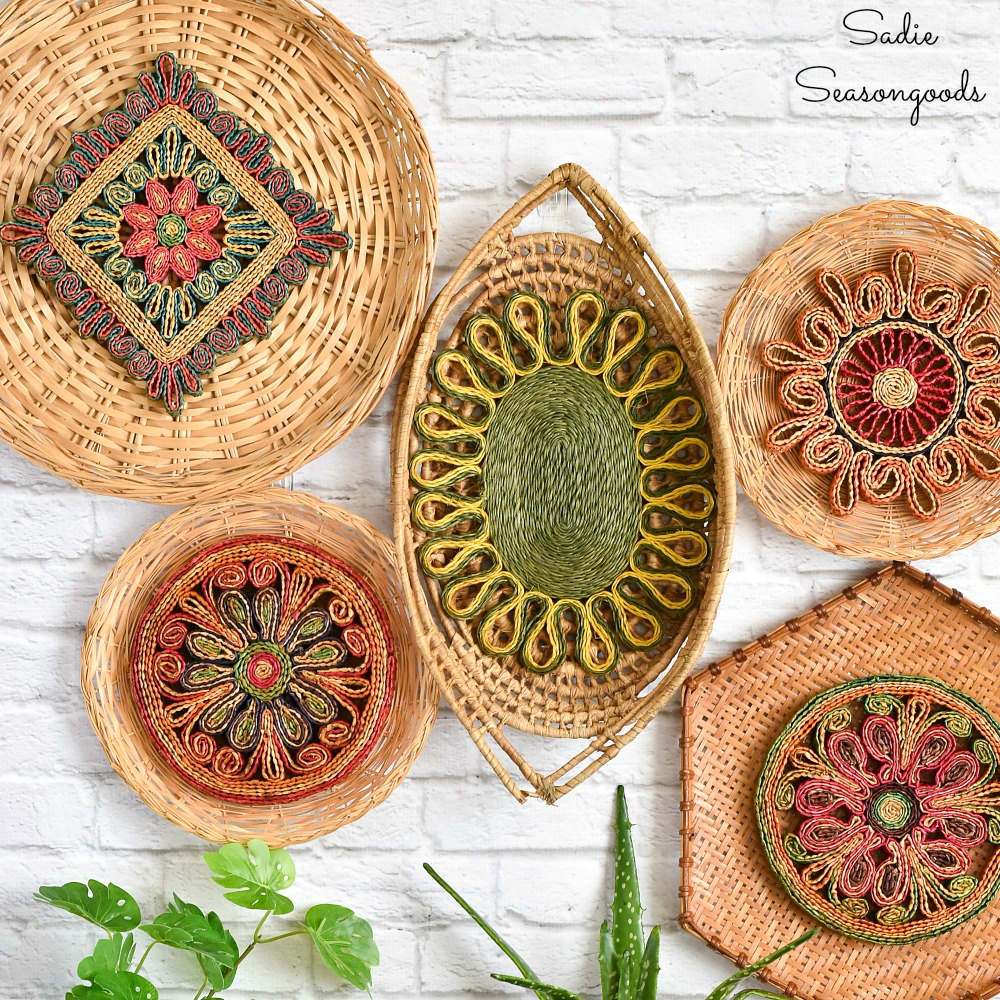 Basket Wall Decor with Bohemian Design