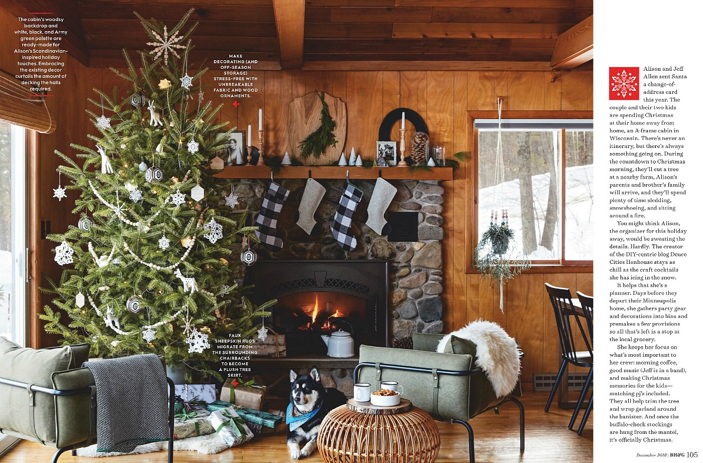 Christmas cabin decor by Alison Allen in Better Homes and Gardens magazine