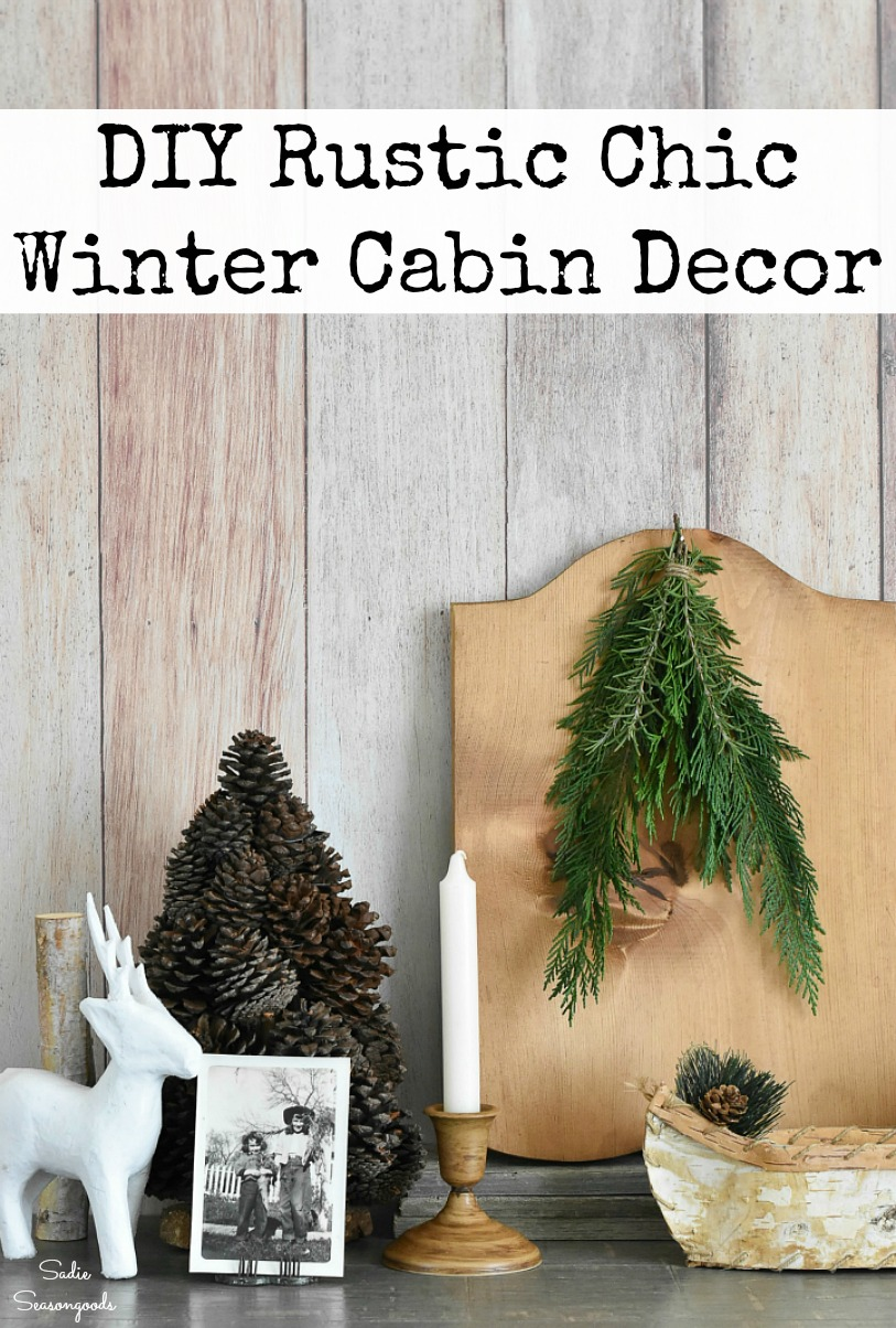Lodge decor and modern rustic decor by thrift shopping and upcycling craft ideas