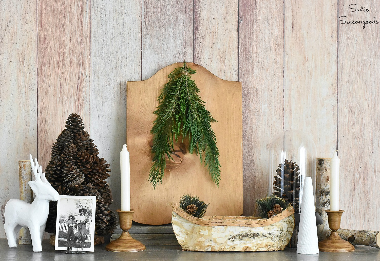 Lodge decor for a winter cabin by thrift shopping for rustic decor and upcycled crafts