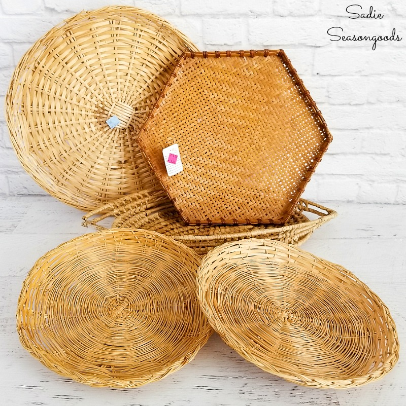 Thrift shopping for flat wall baskets or hanging wall baskets for Boho room decor
