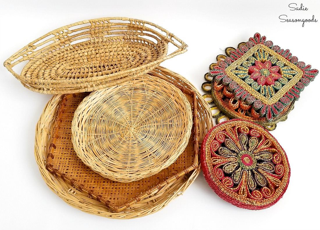 Boho Basket Wall Decor with Flat Wall Baskets and Woven ...