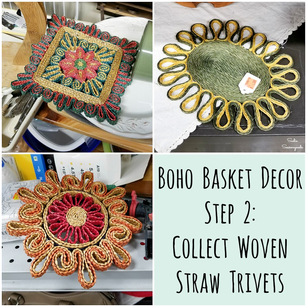 Woven trivets or straw trivets for upcycling into a Boho gallery wall or basket wall decor