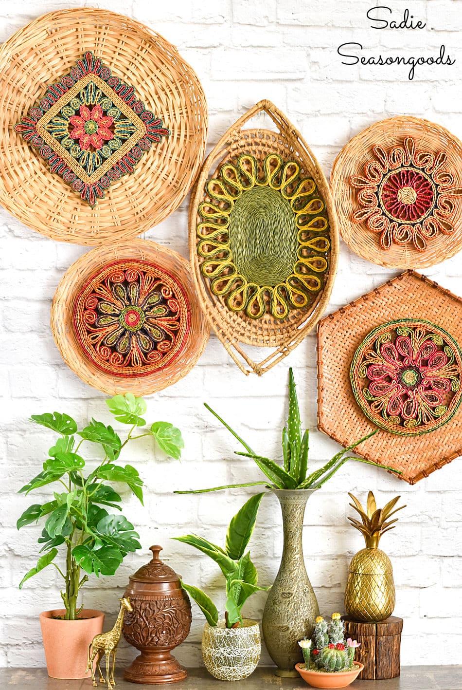 Basket wall decor for a boho home