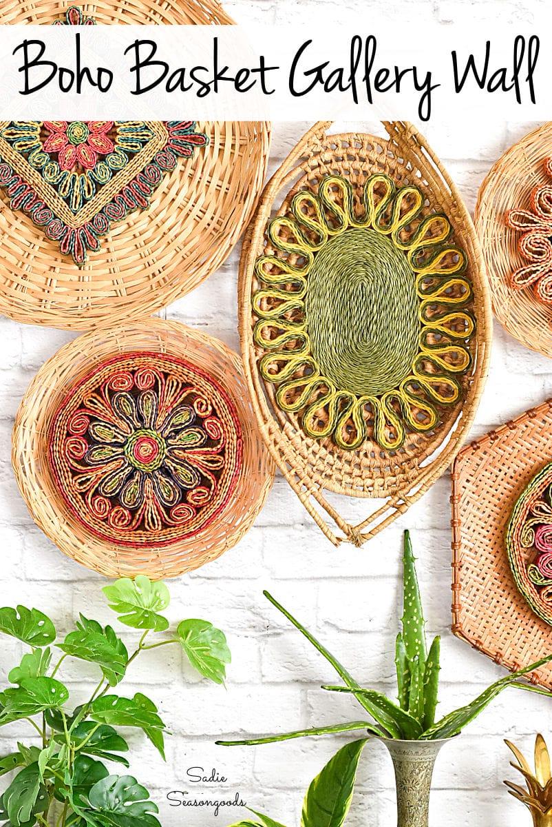 Boho wall decor with woven baskets