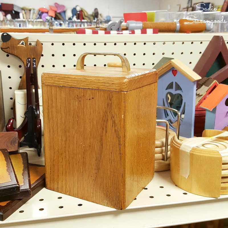 Wooden canister to be upcycle into retro canisters with mid century modern stencils