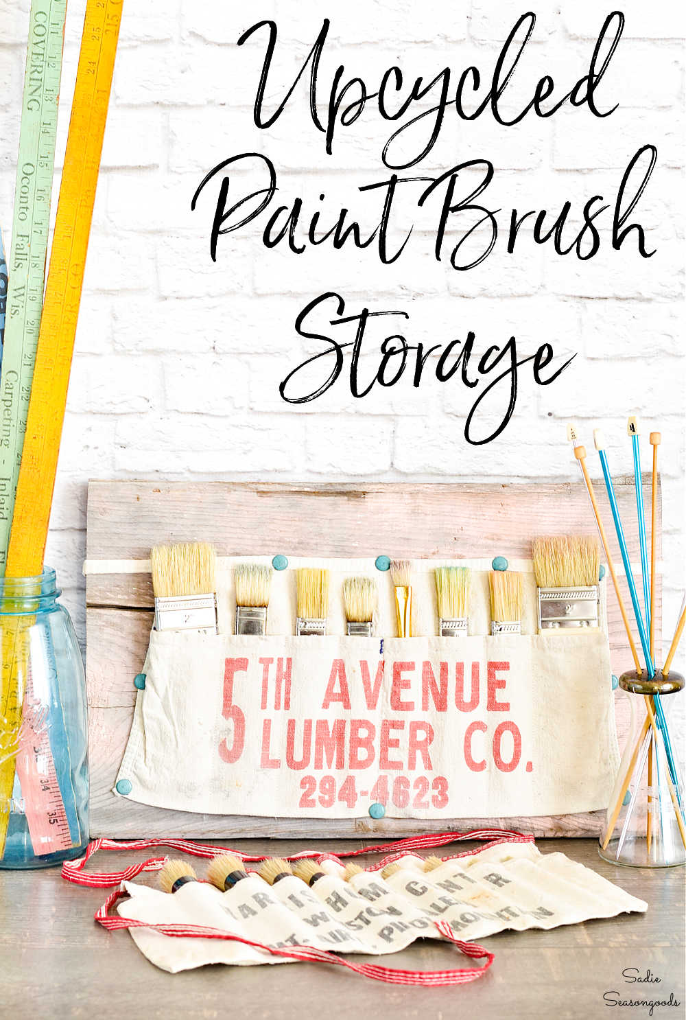 brush organizer in canvas nail aprons